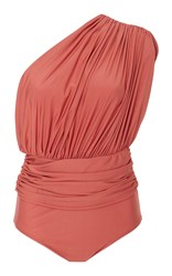 Lenny Niemeyer One Shoulder Draped Maillot Swimsuit Pink
