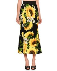 Dolce And Gabbana Flared Sunflower Print Midi Skirt Black Yellow Black Yellow