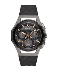 Bulova Curv Chronograph Round Stainless Steel And Titanium Strap Watch Black
