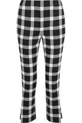 Christopher Kane Cropped Gingham Wool Blend Slim Leg Pants Black