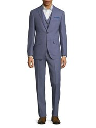 Tallia Orange Birds Eye Tree Piece Wool Suit Light Blue