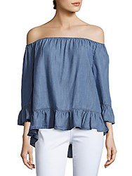 Beach Lunch Lounge Solid Hi Lo Off The Shoulder Top Medium Blue