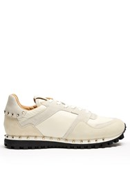 Valentino Rockrunner Suede Panelled Trainers Cream