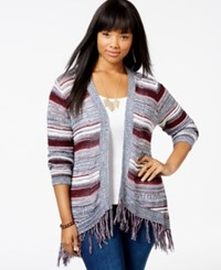 American Rag Plus Size Striped Fringe Trim Cardigan Only At Macy's Oatmeal Combo