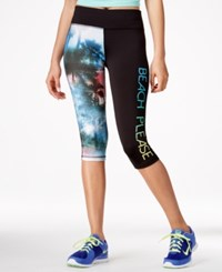 Material Girl Active Juniors' Cropped Graphic Leggings Only At Macy's Black
