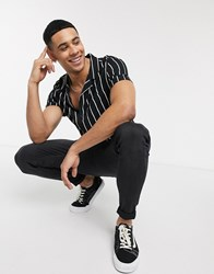 Topman Short Sleeve Shirt In Black And White Pinstripe