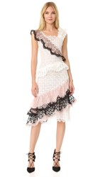 Rodarte Ruffled Lace Dress White Black Peach