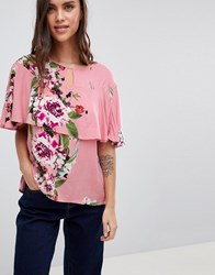 Vila Floral Ruffle Woven Top Bridal Rose Pink