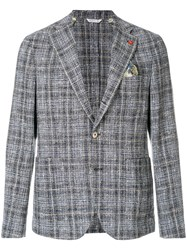 Manuel Ritz Checked Textured Blazer Blue