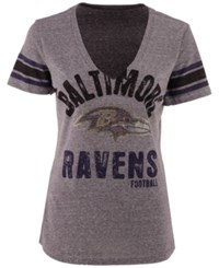 G3 Sports Women's Baltimore Ravens Any Sunday Rhinestone T Shirt Gray