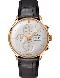 Junghans 027 7323.01 Meister Chronoscope Leather And Gold Plated Watch Silver