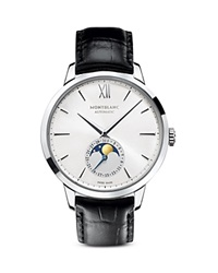 Montblanc Meistertuck Heritage Moonphase Watch With Black Strap 39Mm Silver