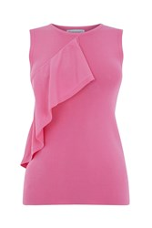 Warehouse Sleeveless Ruffle Front Top Pink