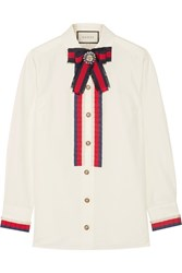 Gucci Embellished Grosgrain Trimmed Cotton Poplin Shirt Off White