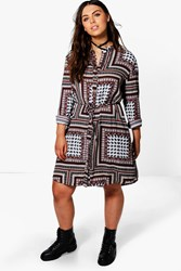 Boohoo Plus Lydia Paisley Print Tie Waist Shirt Dress Black