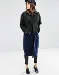 Asos Oversized Wool Blend Coat In Colour Block With D Ring Detail Multi