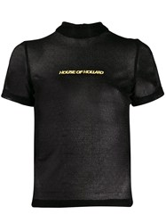 House Of Holland Sheer Textured Logo Embroidered T Shirt 60