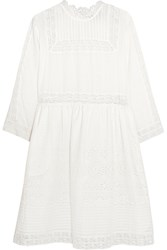 Sea Daisy Lace Paneled Broderie Anglaise Cotton Dress White