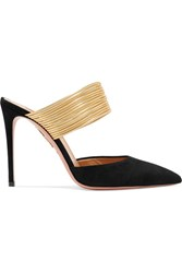 Aquazzura Rendez Vous 105 Suede And Metallic Leather Mules Black
