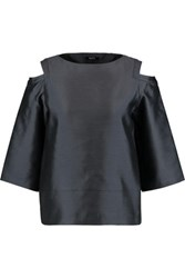 Raoul Oriole Cold Shoulder Silk And Wool Blend Shantung Top Anthracite