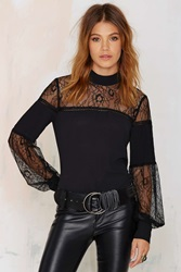 Nasty Gal Lace To The Finish Blouse Black