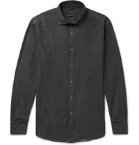 Ermenegildo Zegna Cotton Chambray Shirt Charcoal