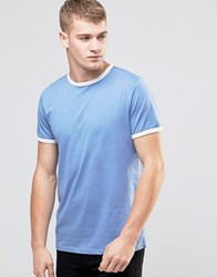 New Look Ringer T Shirt In Blue Colony Blue