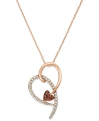 Macy's Diamond 1 4 Ct. T.W. And Red Diamond Accent Heart Pendant In 10K Pink Gold
