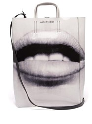 Acne Studios Baker Mouth Print Tote Black White