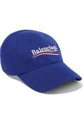 Balenciaga Embroidered Cotton Twill Baseball Cap Blue
