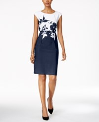 Connected Petite Belted Contrast Floral Sheath Dress Navy White