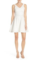 Women's French Connection 'Lula' Stretch Fit And Flare Dress Summer White