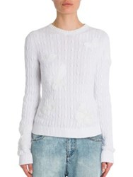 Valentino Butterfly Cable Knit Cotton Sweater Bianco