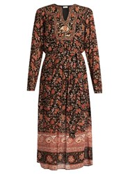 Masscob Floral Print Long Sleeve Dress Black Multi