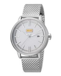 Just Cavalli 42Mm Men's Relaxed Patch Watch W Bracelet Silver