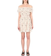 The Kooples Tattoo Print Silk Dress Nude