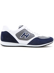 Hogan Panelled Lace Up Sneakers Blue