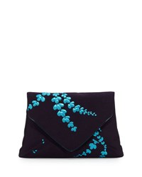 Dries Van Noten Lilly Jacquard Envelope Clutch Bag Navy