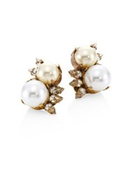 Erickson Beamon Dancing Queen Faux Pearl Stud Earrings Gold Pearl