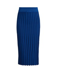 Altuzarra Diamon Ribbed Midi Skirt Blue