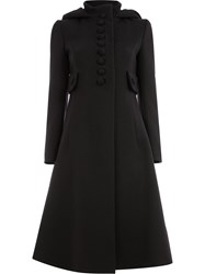 Gucci Buttoned Flared Coat Black