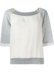 Twin Set Embellished Panelled Sweatshirt Grey