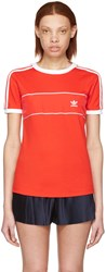 Adidas Originals Red Satin Insert Logo T Shirt