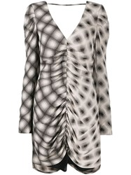 Eckhaus Latta Printed Draped Dress Neutrals