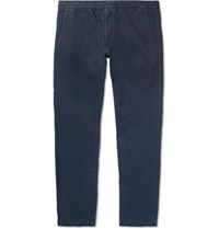 Norse Projects Luther Cotton And Linen Blend Drawstring Trousers Navy