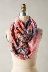 Anthropologie Abstract Embroidered Infinity Scarf Purple Motif