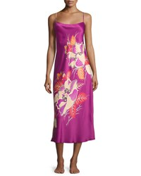 Natori Imperial Floral Print Satin Gown Purple Haze