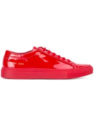 Common Projects Classic Lace Up Sneakers Women Leather Patent Leather Rubber 35 Red