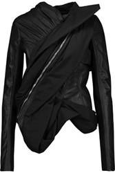 Rick Owens Asymmetric Paneled Leather And Shell Jacket Black