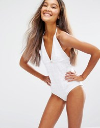 Monki Crochet Swimsuit White Crochet